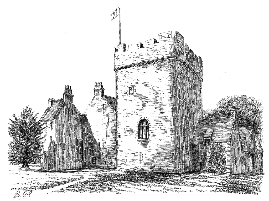 Drum Castle, a fine mansion incorporating an old tower house, with an interesting interior and set in pretty gardens and grounds, long held by the Irvine or Irving family, near Banchory in Aberdeenshire in northeast Scotland.