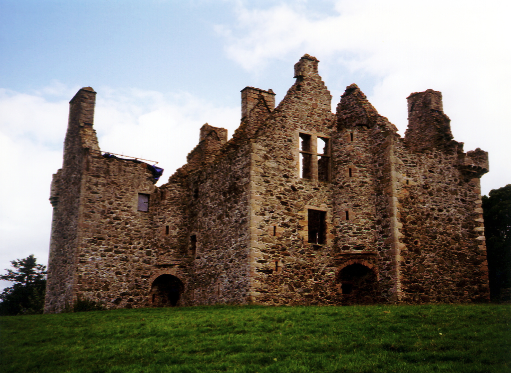 Glenbuchat Castle, a large, imposing and once comfortable tower house, sitting in a pretty peaceful spot near Strathdon in Aberdeenshire in northeast Scotland and once a property of the Gordon family.