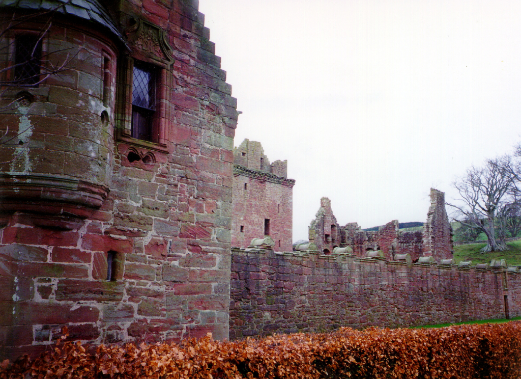 Edzell Castle, a substantial ruinous old stronghold of the Lindsay family with a fabulous walled garden, in a pretty peaceful spot neat the village of Edzell north of Brechin in Angus in Scotland.
