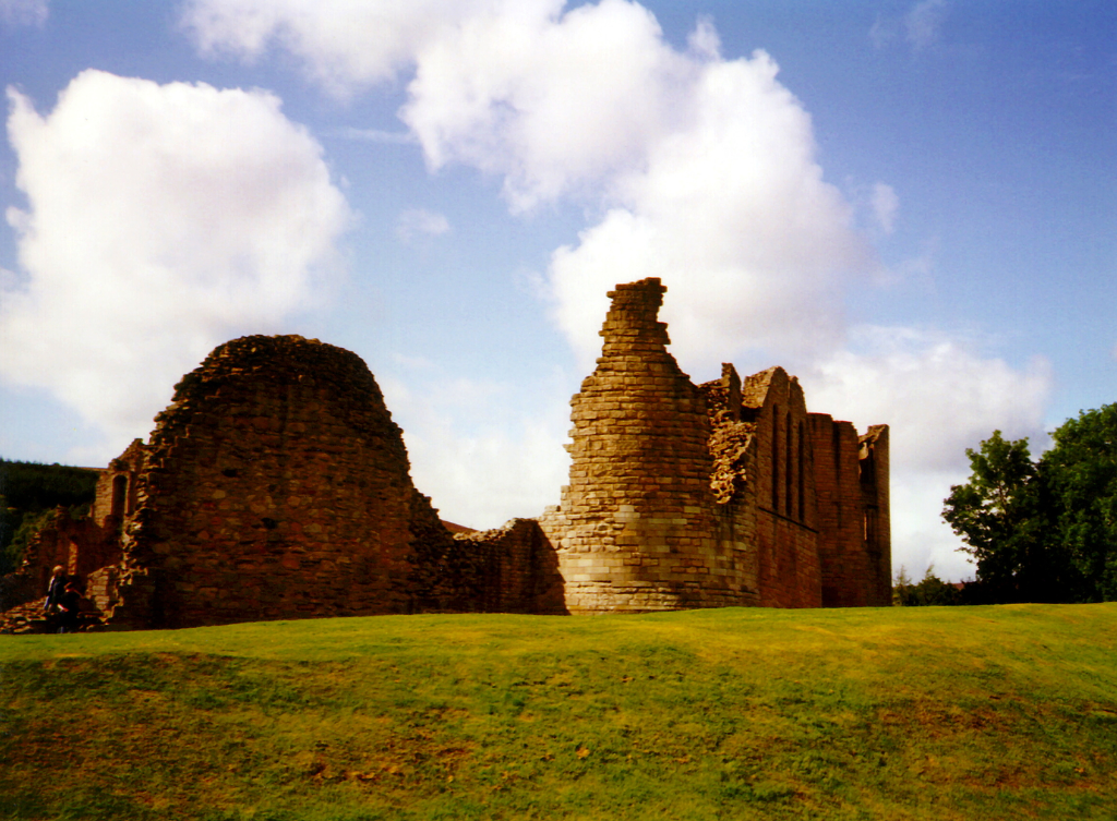 Kildrummy Castle, a ruinous but impressive early stone stronghold of the Earls of Mar in a pretty spot with gardens nearby, near the town of Strathdon in Aberdeenshire in the northeast of Scotland.