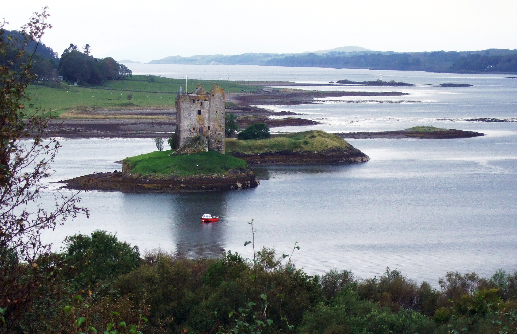 Castle Stalker is a restored scenic old tower house on an island in a beautiful spot in Appin north of Oban on the west coast of Scotland, long a property of the Stewarts of Appin.