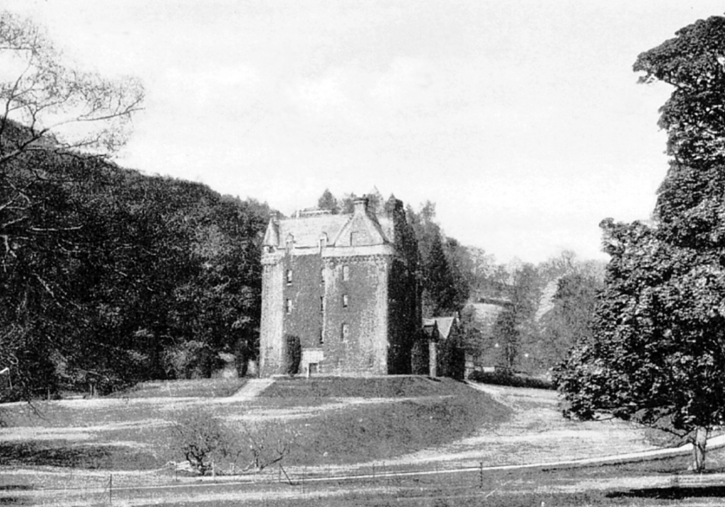 Castle Leod, a large, well-preserved and impressive old tower house set in fine wooded grounds, long held by the MacKenzie Earls of Cromartie, and near Dingwall in Invernessshire in the north of Scotland.