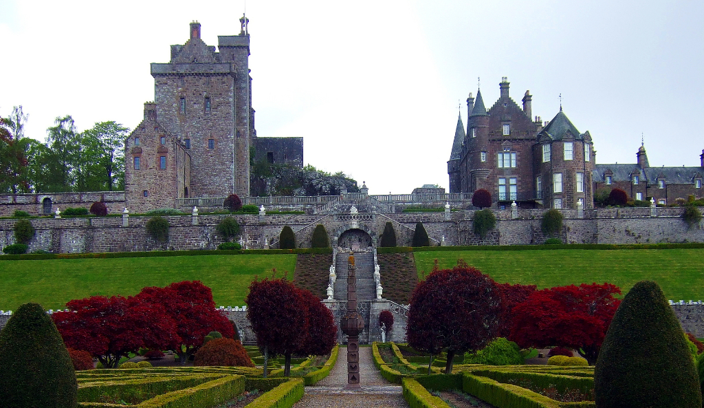 The beautiful gardens of Drummond Castle , an impressive old castle and later mansion with spectacular formal gardens, long held by the Drummond family and near Muthil in Perthshire.