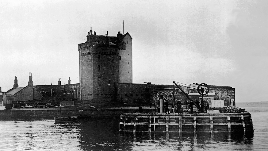 Broughty Castle is a tall and impressive old tower, one held by the Grays and now housing a museum, located by the harbour at Broughty Ferry on the Tay, in Angus in eastern Scotland.