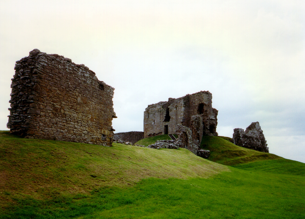 Duffus Castle, an interesting old ruinous medieval stronghold with a tower on a large motte and the remains of other building, held by the Sutherland family and near Elgin in Moray in northern Scotland.