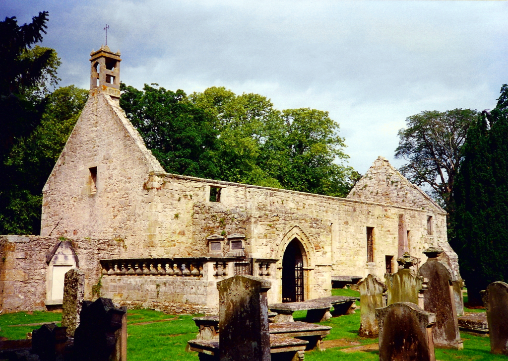 St Peter's Church, near Duffus Castle, an interesting old ruinous medieval stronghold with a tower on a large motte and the remains of other building, held by the Sutherland family and near Elgin in Moray in northern Scotland.
