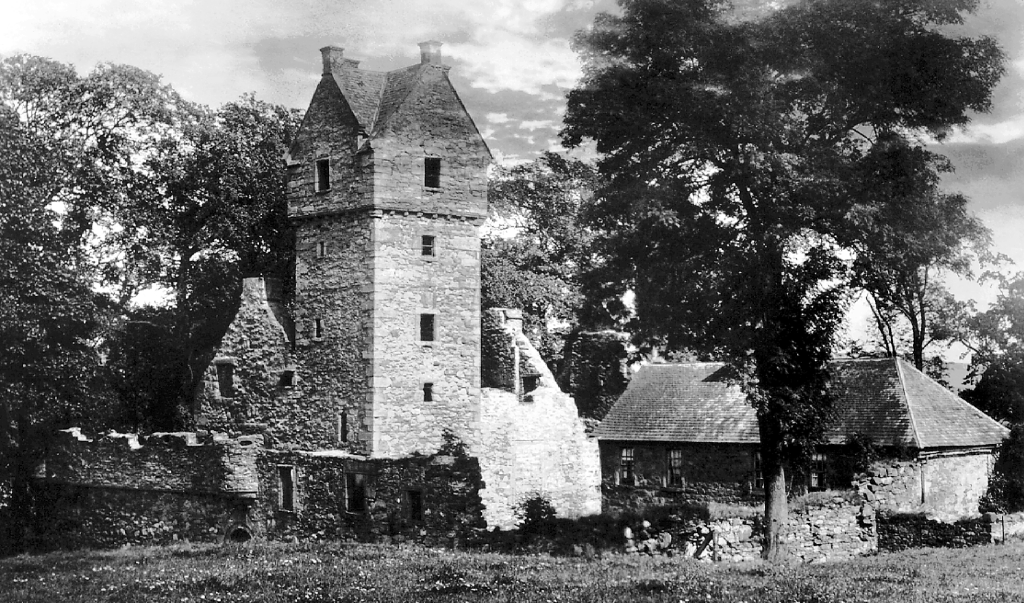 Mains Castle, an old stronghold with a tall tower, long held by the Graham of Fintry family and located in the scenic Caird Park to the north of Dundee at Mains of Fintry in Angus in northeast Scotland.