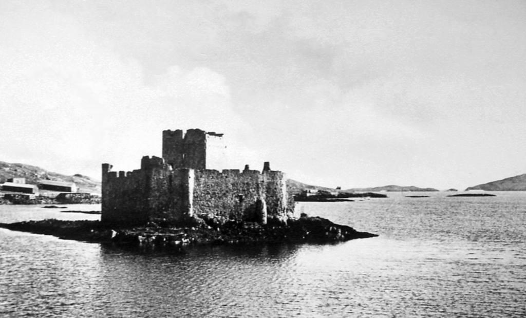 Kisimul Castle, a picturesque old partly ruinous stronghold of the MacNeills of Barra, located on an island in Castlebay on the scenic Hebridean island of Barra in western Scotland.