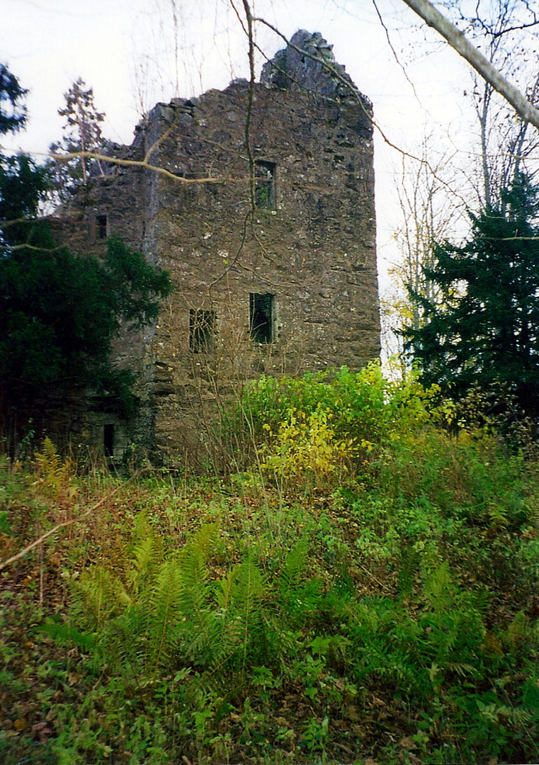 Finlarig Castle, an atmospheric overgrown ruinous old tower house with a derelict mausoleum in a pretty wooded spot, built by the Campbells and at Killin in Stirlingshire in central Scotland.