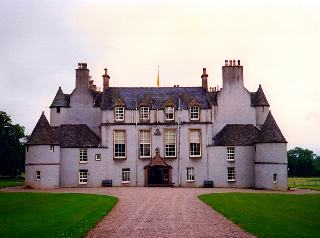 Leith Hall, an attractive old courtyard castle and mansion, long held by the Leith family, and set in gardens and wooded grounds, some miles from Rhynie in Aberdeenshire in northeast Scotland.