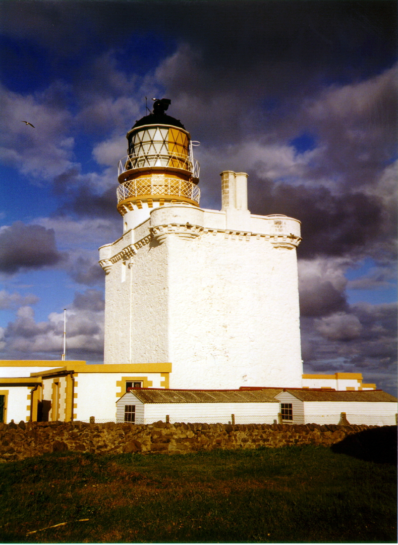 Kinnaird Head Castle, an impressive old tower house of the Frasers, later used as a lighthouse and now part of the Museum of Scottish Lighthouses, in Fraserburgh in Aberdeenshire in northeast Scotland.