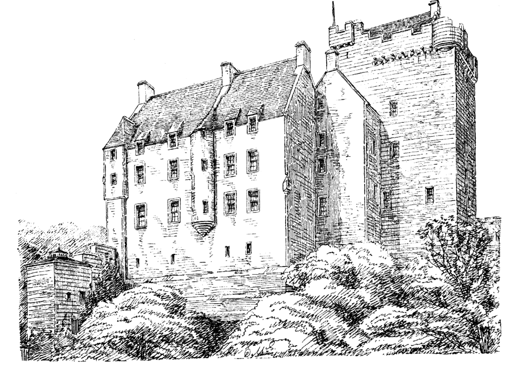 Kilravock Castle is a large and impressive old stronghold in a pretty spot, long held by the Rose family, and near Nairn in Moray in northeast Scotland.