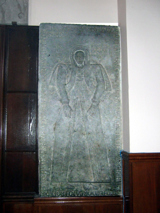 Burial slab, St Athernase Church, Leuchars, near Earlshall is a fine tower and old house, in lovely gardens, long a property of the Bruces, near Leuchars in Fife in central Scotland.