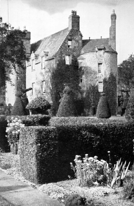 Earlshall is a fine tower and old house, in lovely gardens, long a property of the Bruces, near Leuchars in Fife in central Scotland.