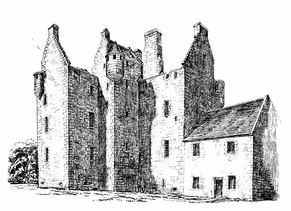 Dalcross Castle, a fine impressive castle, held by the Frasers and the Mackintoshes, near Inverness in the Highlands of Scotland.