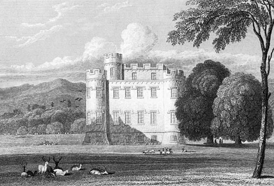 Monzie Castle, an imposing mansion incorporating an old tower house in a scenic spot near the interesting town of Crieff in Perthshire in central Scotland, and held by the Grahams (Graemes) and then by the Campbells.
