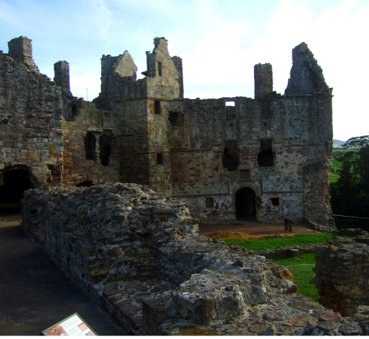 Ruthven range of buildings of Dirleton Castle, a magnificent medieval ruined castle, near North Berwick in East Lothian
