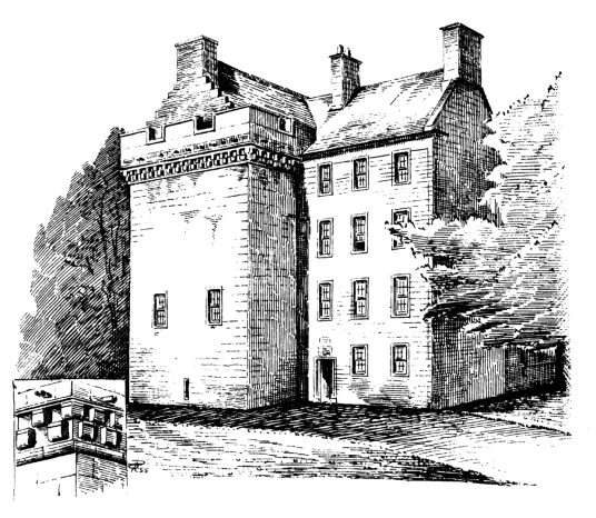 Drawing of Culcreuch Castle, old castle of the Galbraiths, in a pretty parkland location