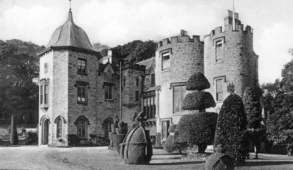 View of Fingask Castle, a fine castle and mansion in a scenic garden with follies, near Perth in Perthshire