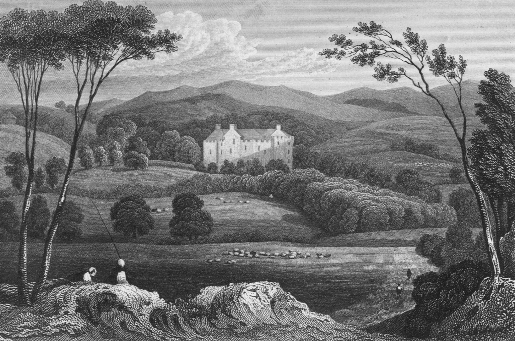 Engraving of Fingask Castle, a fine castle and mansion in scenic gardens, near Perth in Perthsire