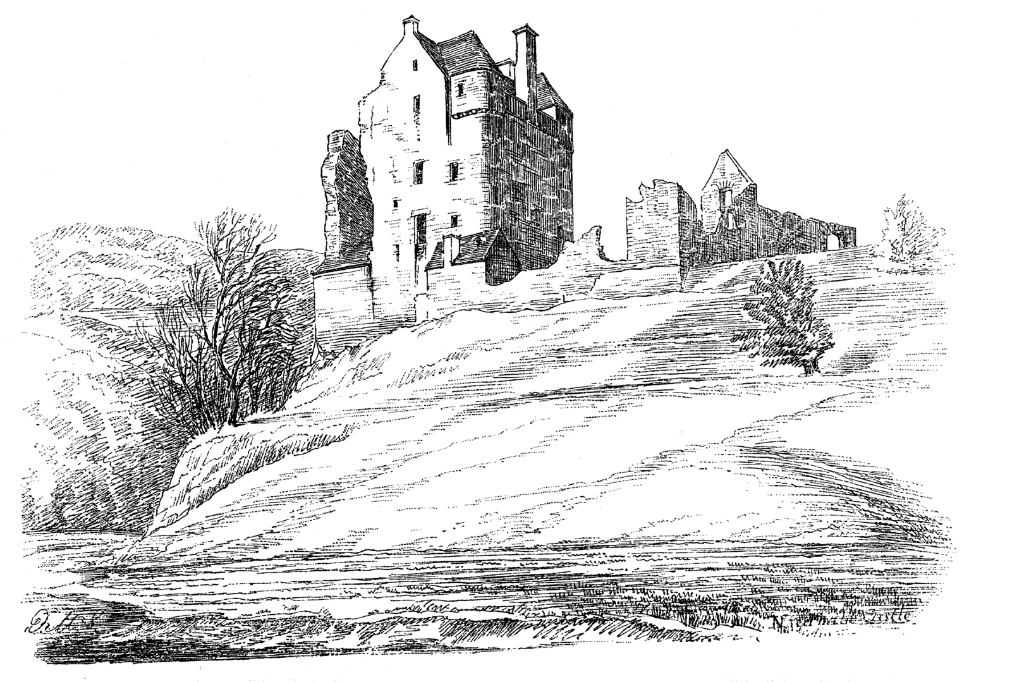 Drawing of Neidpath Castle, a fine old tower and castle above the River Tweed, near Peebles