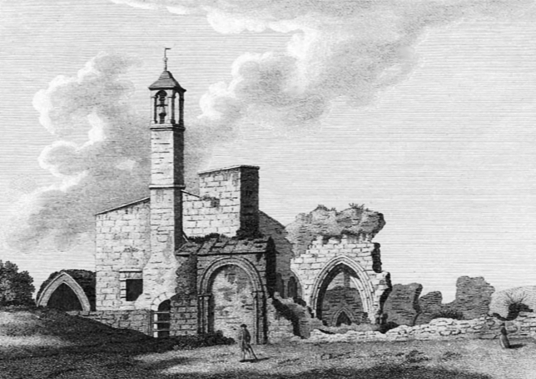 Engraving of Coldingham Priory, showing the then ruin with a tower now gone. The church is an interesting graveyard with many old memorials in the peaceful village of Coldingham