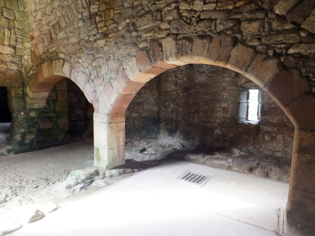 Kitchen fireplaces of Crichton Castle, a fabulous ruined medieval castle in a pretty spot above the River Tyne, held by the Crichtons, Hepburn and Stewart Earls of Bothwell, near to Pathhead and Edinburgh