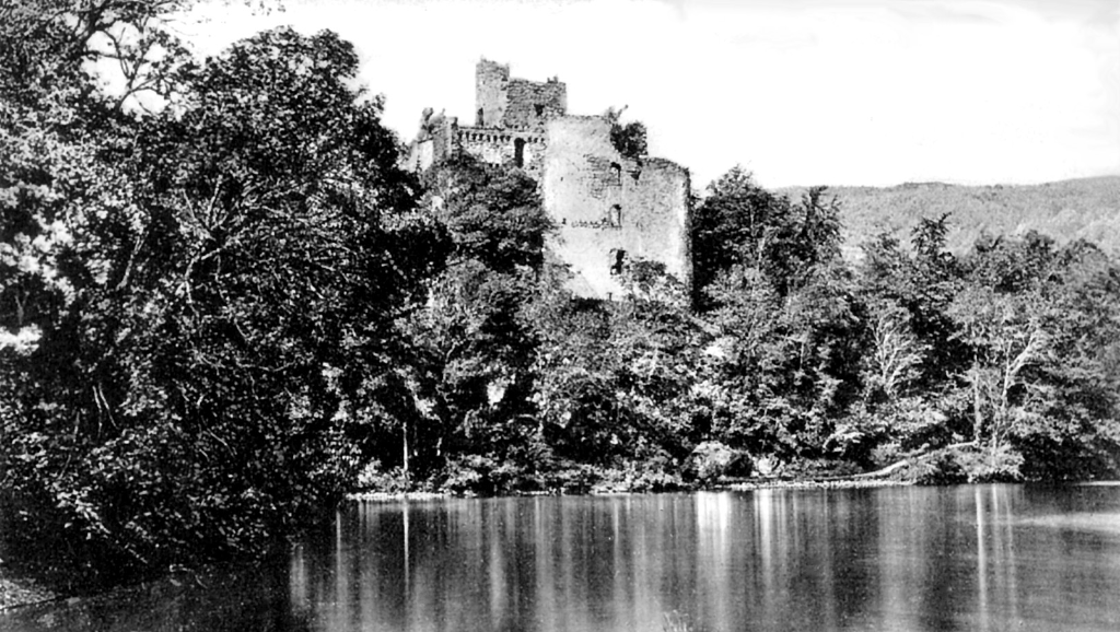 Invergarry Castle, an impressive and picturesque ruinous old tower of the MacDonnells (MacDonalds) of Clan Ranald in a pretty spot on Loch Oich and in the grounds of the Glengarry Castle Hotel, near Fort Augustus in the Highlands of Scotland.