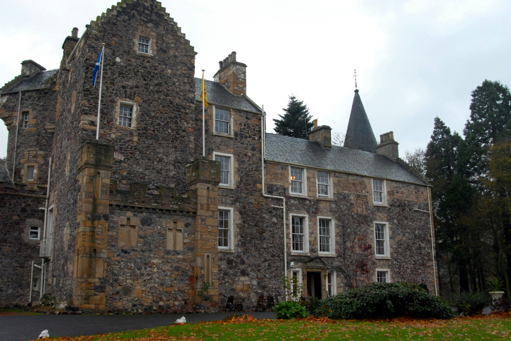 View of Fernie Castle, an impressive old tower house, now used as a hotel, near Cupar in Fife.