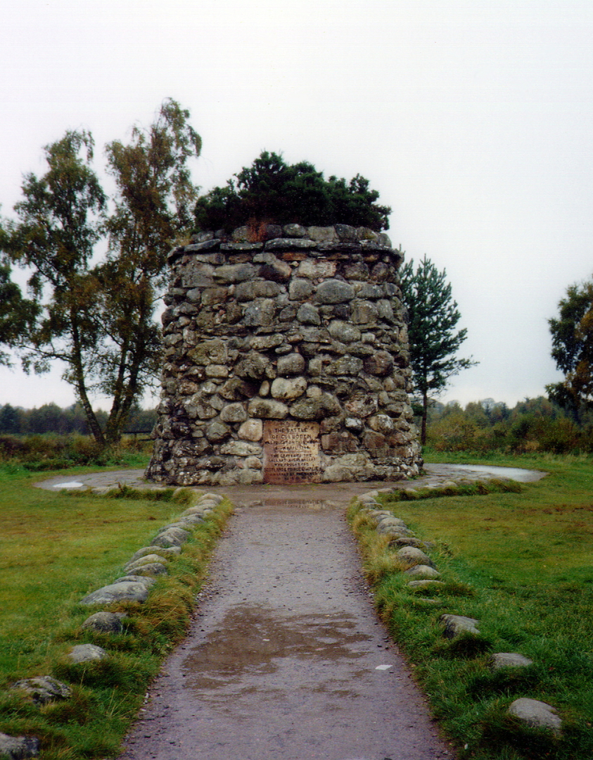 Culloden House: Culloden battlefield 1746, memorial to those killed fighting for Bonnie Prince Charlie, near Culloden House, an attractive symmetrical mansion, seat of Forbes family and mostly dating from the end of the 18th century. in fine grounds and n