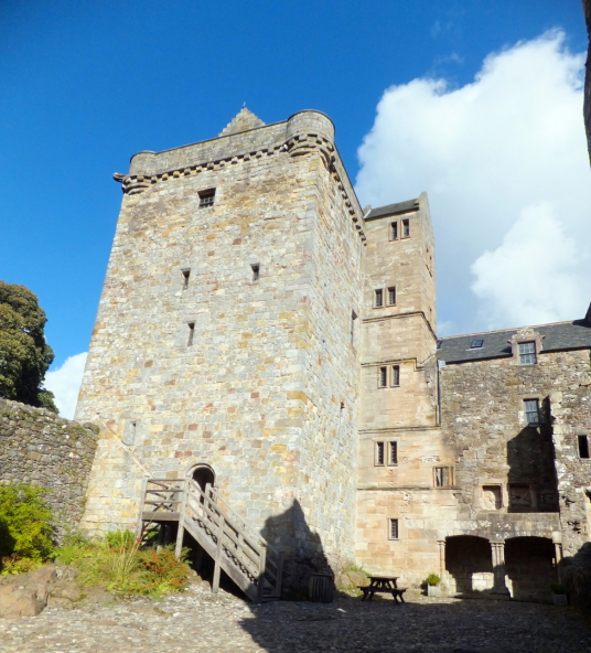 Main tower of Castle Campbell, a handsome ruinous castle,  with many rooms to explore and superb views and gardens, of the great Campbell clan of Argyll in a lovely location up through the sylvan Dollar Glen.