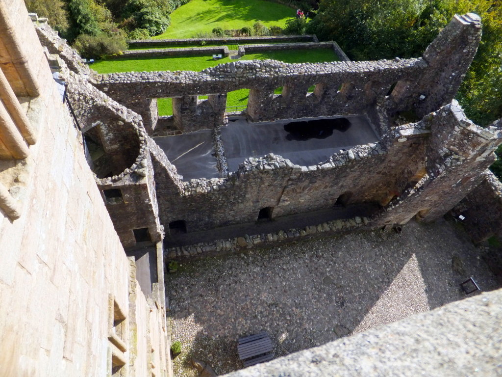 Courtyard from the battlements of Castle Campbell, a handsome ruinous castle,  with many rooms to explore and superb views and gardens, of the great Campbell clan of Argyll in a lovely location up through the sylvan Dollar Glen.