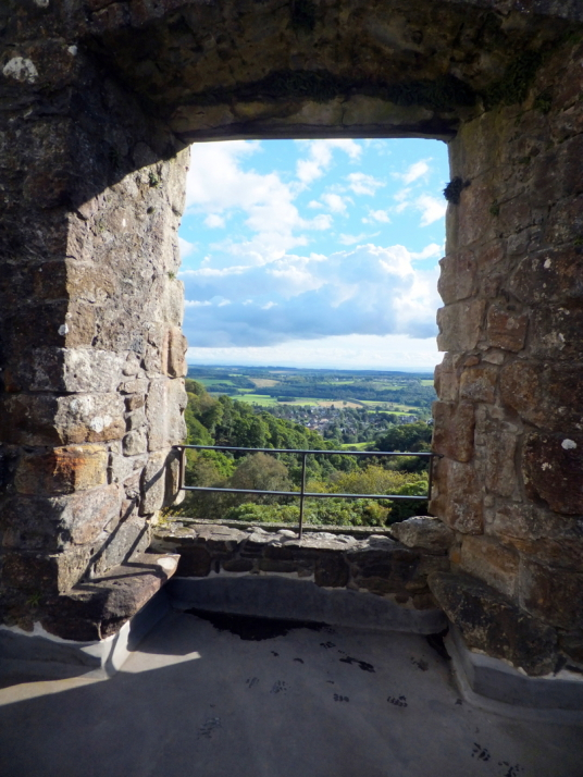View from the window of the hall in the courtyard of Castle Campbell, a handsome ruinous castle,  with many rooms to explore and superb views and gardens, of the great Campbell clan of Argyll in a lovely location up through the sylvan Dollar Glen.
