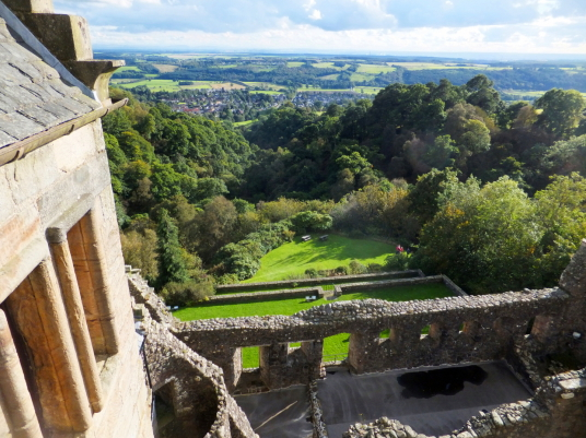 View from the battlements, looking south, of Castle Campbell, a handsome ruinous castle,  with many rooms to explore and superb views and gardens, of the great Campbell clan of Argyll in a lovely location up through the sylvan Dollar Glen.