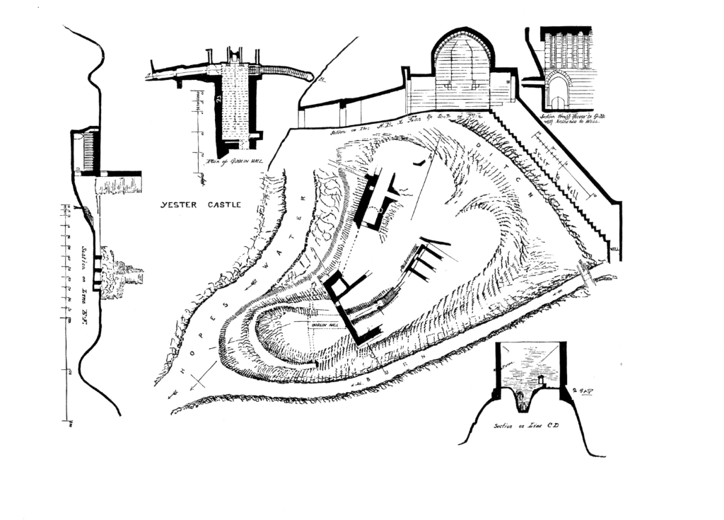 Plan of Yester Castle, the shattered ruinous castle of the Hays of Yester, later Earls and Marquises of Tweeddale, with the famous Goblin Ha' (Hall), an underground vaulted chamber, near the town of Gifford in East Lothian.