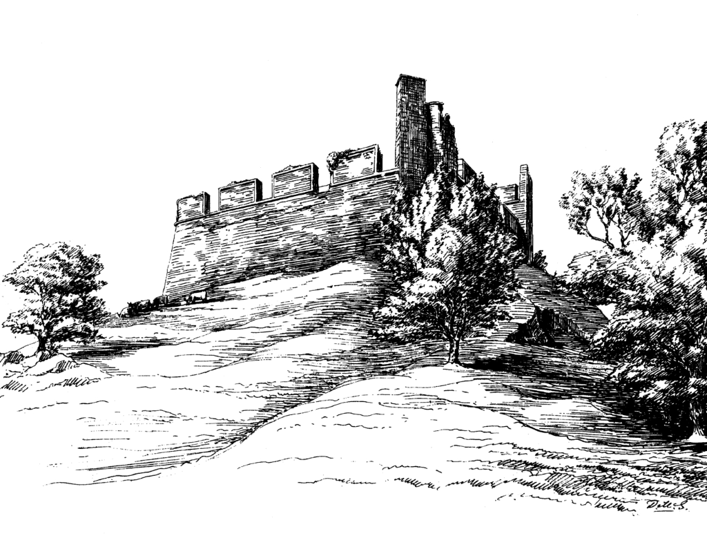 Hume Castle, a castellated folly built on the site of a strong old castle of the powerful Homes (Humes) and located in a prominent spot near the Border town of Greenlaw in southeast Scotland.