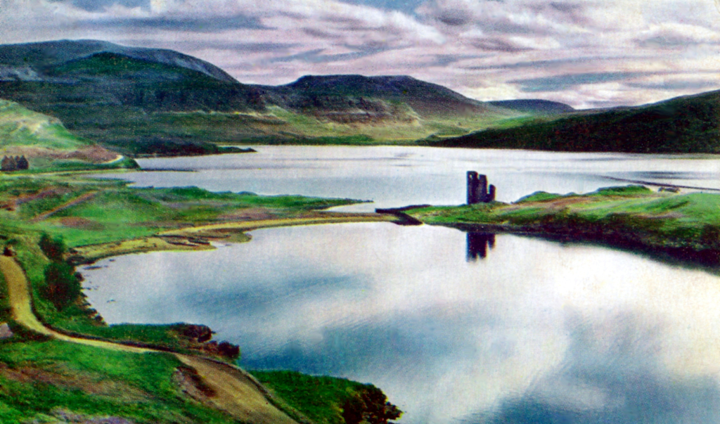 Ardvreck Castle, a ruinous old stronghold of the MacLeods of Assynt, in a beautiful spot on the banks of Loch Assynt with the ruin of Calda House, a later house of the Mackenzies, nearby, near Inchnadamph, in Sutherland in the north of Scotland.