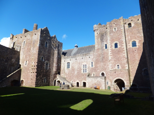 Courtyard of Doune Castle, a magnificent medieval castle in a pretty spot by the River Teith, built by Robert Stewart, Duke of Albany, near Doune in Stirlingshire.