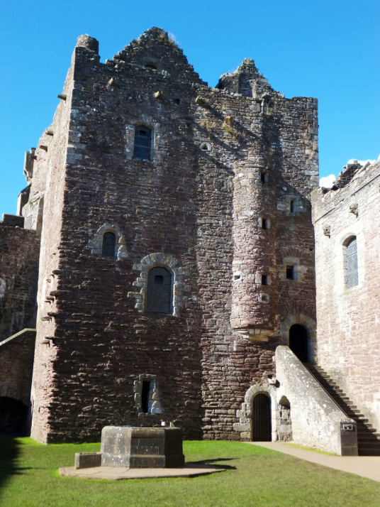 View of kitchen tower of Doune Castle, a magnificent medieval castle in a pretty spot by the River Teith, built by Robert Stewart, Duke of Albany, near Doune in Stirlingshire.