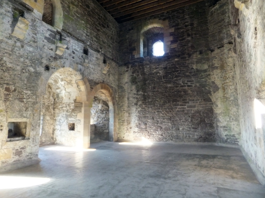 View of great chamber or upper hall of Doune Castle, a magnificent medieval castle in a pretty spot by the River Teith, built by Robert Stewart, Duke of Albany, near Doune in Stirlingshire.