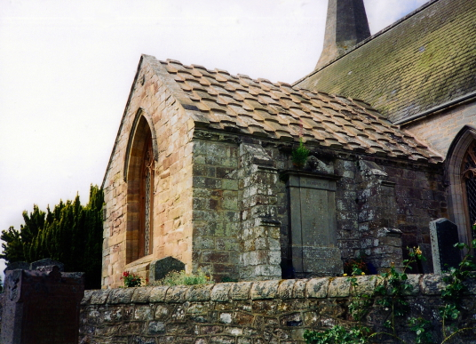Arniston Aisle of Borthwick Parish Church, near Borthwick Castle, a lofty and magnificent tower house in a quiet scenic location, built in the 15th century by the Borthwick family and now an exclusive hotel, located near Gorebridge in Midlothian in centra