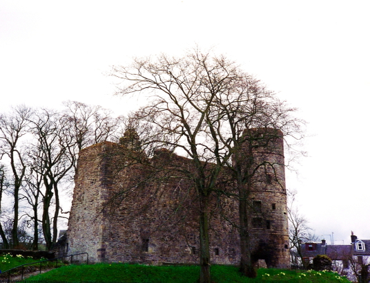 Strathaven Castle, a once strong but now quite ruinous old stronghold, once held by the Douglases, and then by the Stewarts and the Hamiltons, in Strathaven in Lanarkshire.
