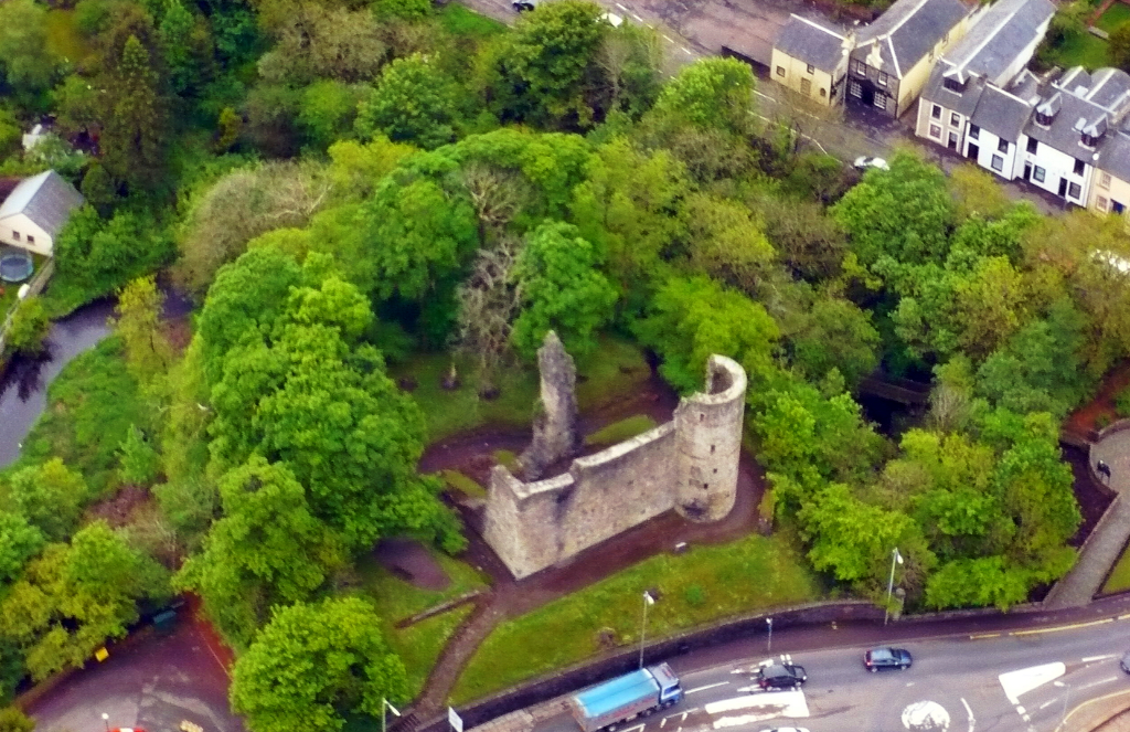 Aerial view of Strathaven Castle, a once strong but now quite ruinous old stronghold, once held by the Douglases, and then by the Stewarts and the Hamiltons, in Strathaven in Lanarkshire.