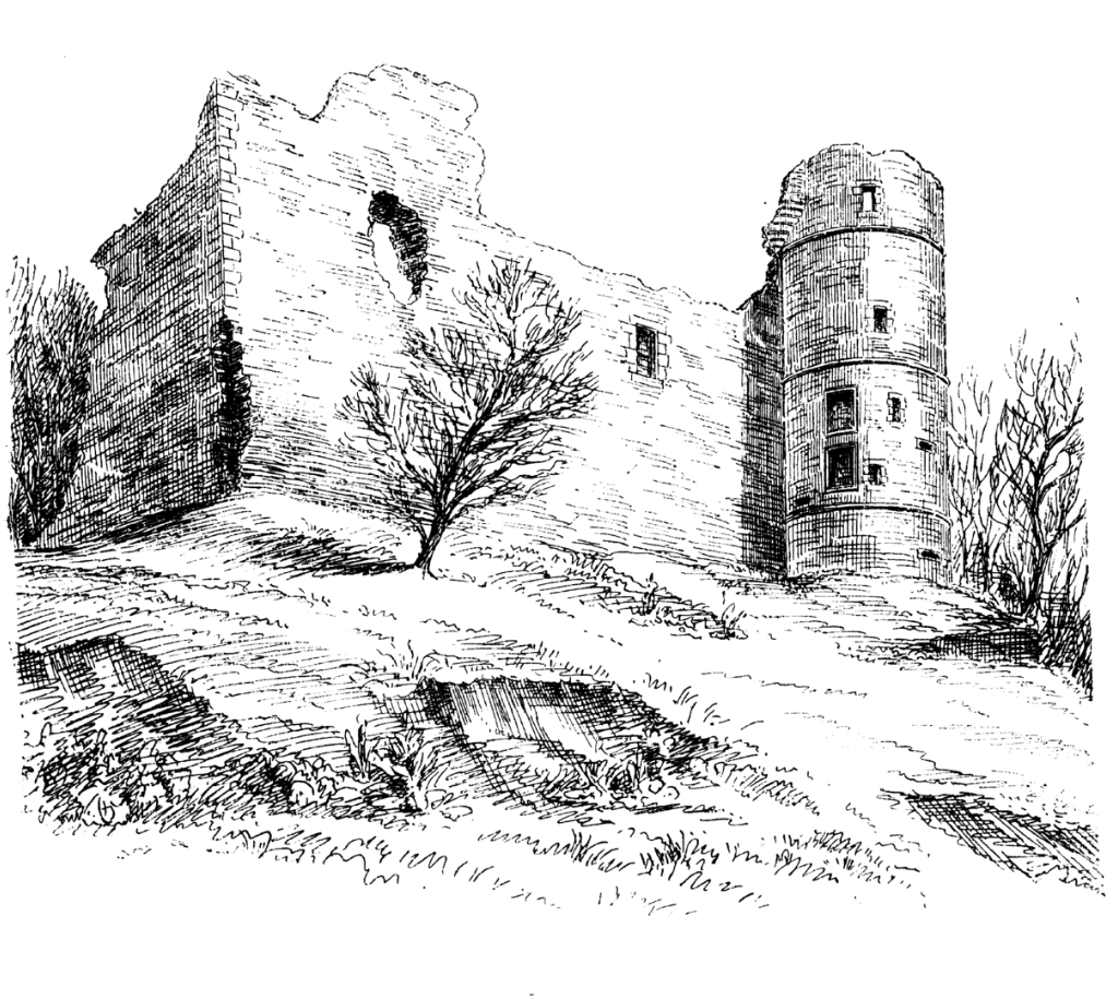 View of Strathaven Castle, a once strong but now quite ruinous old stronghold, once held by the Douglases, and then by the Stewarts and the Hamiltons, in Strathaven in Lanarkshire.