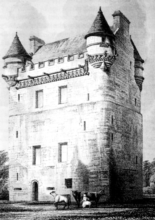 View of Udny Castle, an impressive old tower house, long held by the Udny family, standing near Oldmeldrum in Aberdeenshire.