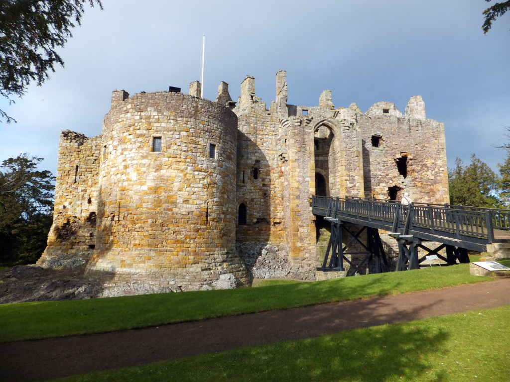 View of Dirleton Castle, one of the best castles of the 4,100 castles, towers, stately homes, historic houses and family lands featured in The Castles of Scotland by Martin Coventry and published by Scottish publisher Goblinshead