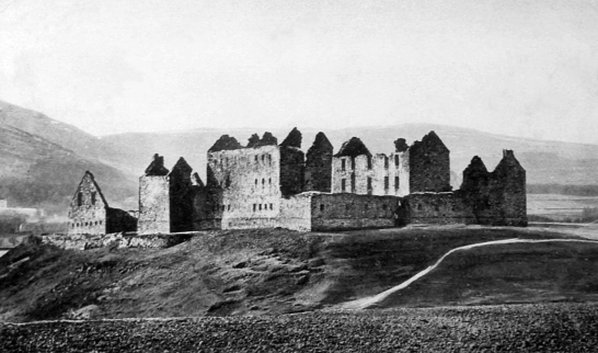 Ruthven Castle or Ruthven Barracks, the large ruin of a government barracks built on the earthworks of a much older castle, near Kingussie in the Highlands of Scotland.