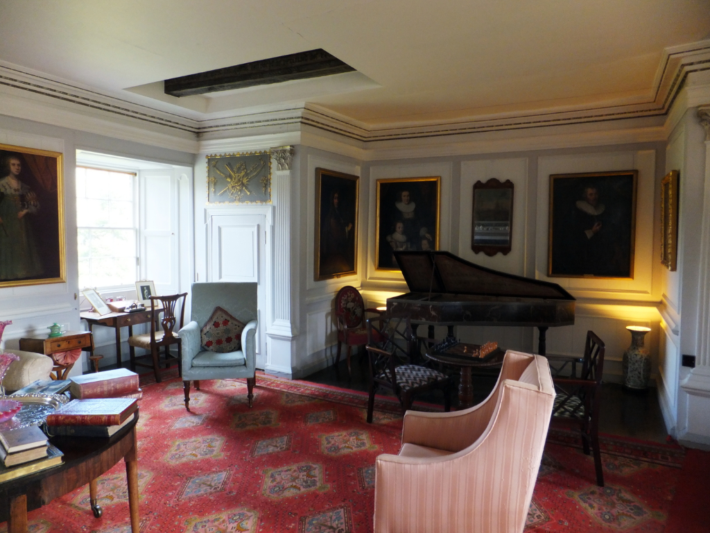 View of the drawing room of Traquair House, a fabulous homely old castle and house, long a property of the Stewarts and associated with Mary, Queen of Scots, in lovely grounds near Innerleithen in the Borders of Scotland.