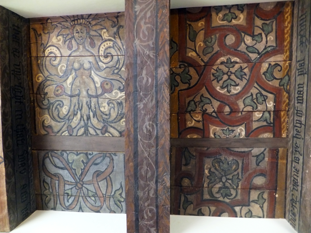 View of painted ceiling in the drawing room of Traquair House, a fabulous homely old castle and house, long a property of the Stewarts and associated with Mary, Queen of Scots, in lovely grounds near Innerleithen in the Borders of Scotland.