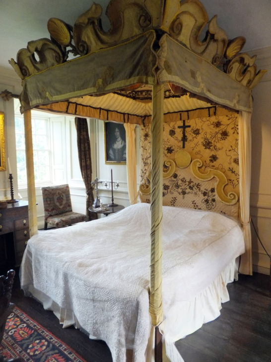 View of  Mary Queen of Scots's bed in Traquair House, a fabulous homely old castle and house, long a property of the Stewarts and associated with Mary, Queen of Scots, in lovely grounds near Innerleithen in the Borders of Scotland.